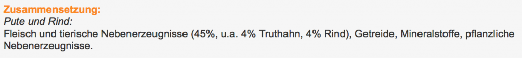 """Die Cesar-Sorte """"Pute und Rind"""" beinhaltet satte 8% Truthahn und Rind, dafür aber 37% Irgendwas. Außerdem 55% garantiert hochwertiges Wasweißdennich."""