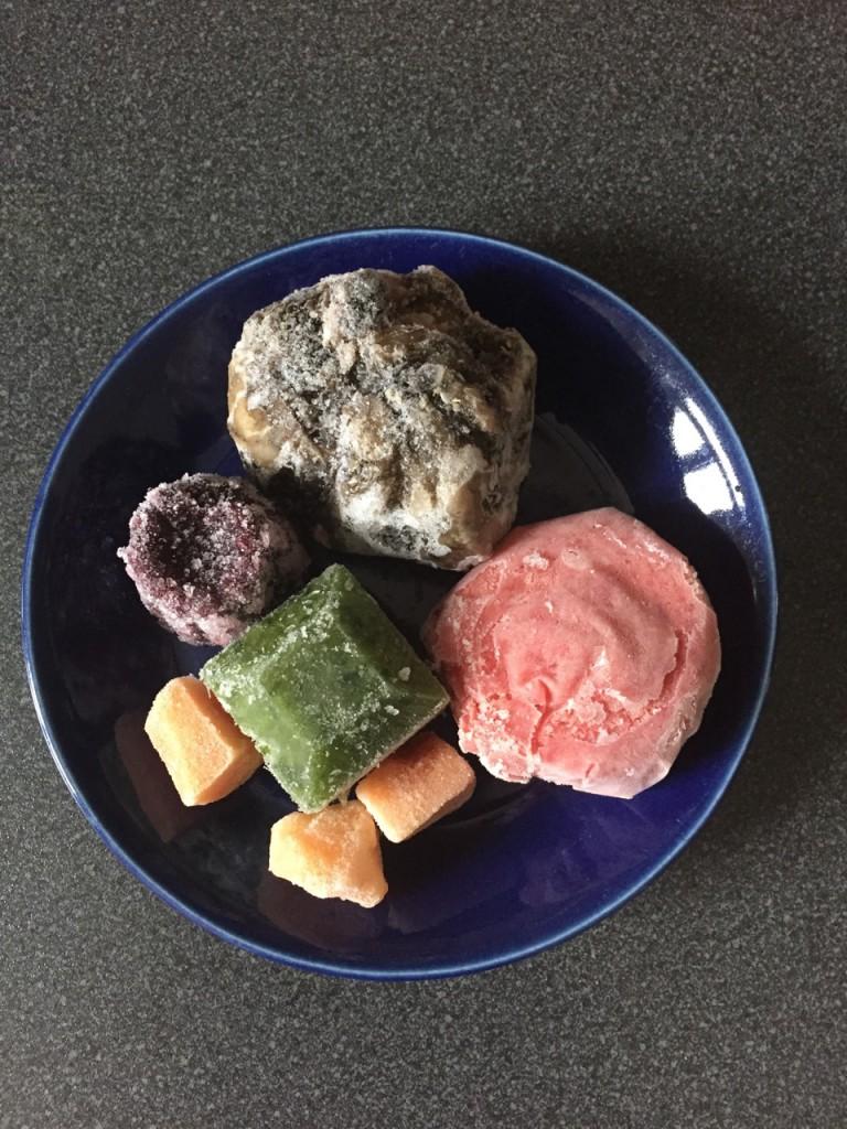 Ein gefundenes Fressen taut auf: Rinderpansen, Hähnchenkarkasse, Gemüsewürfel und Papaya