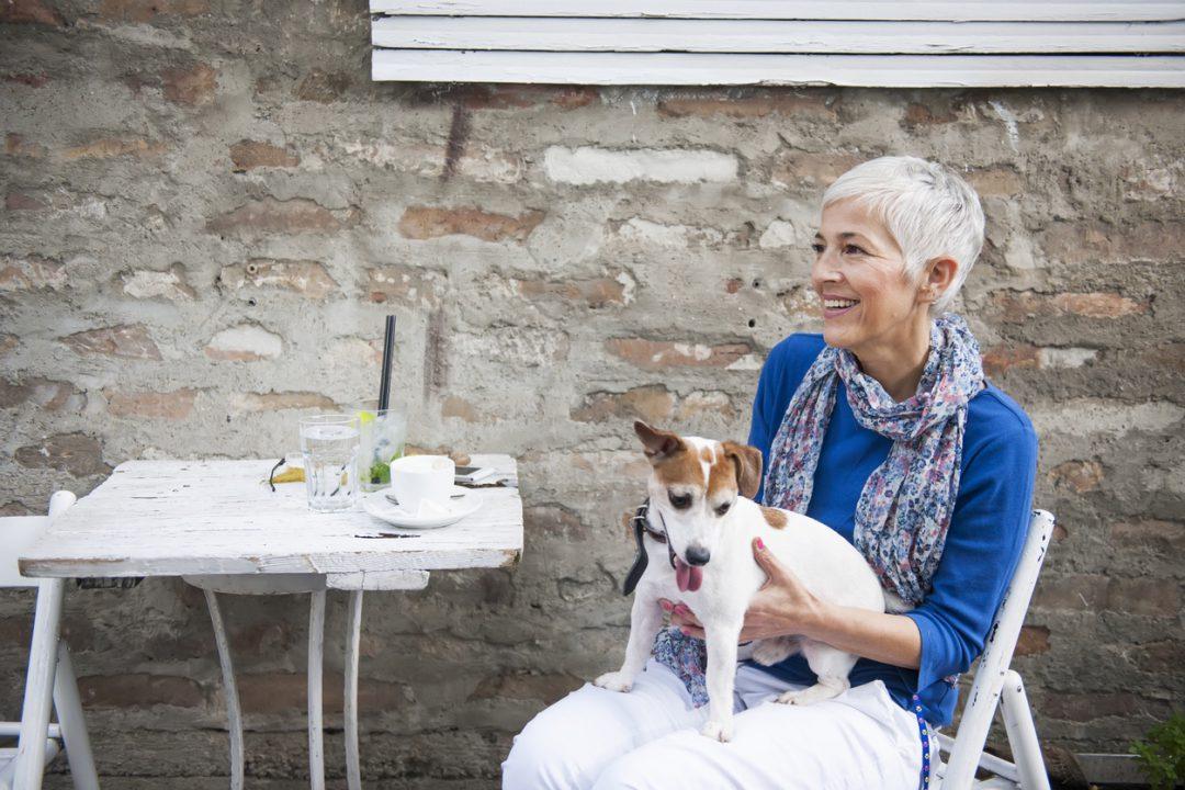Hunde Frauen mit weißen Hosen